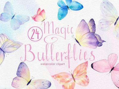 watercolor buttarfly clipart