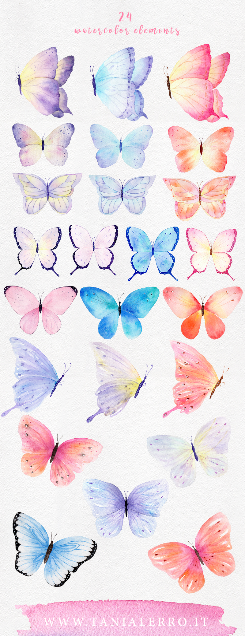 Watercolor butterfly. Set of 24 high-quality hand-painted cliparts.
