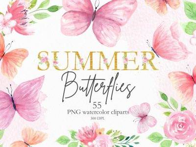 WATERCOLOR SUMMER BUTTERFLY CLIPART...