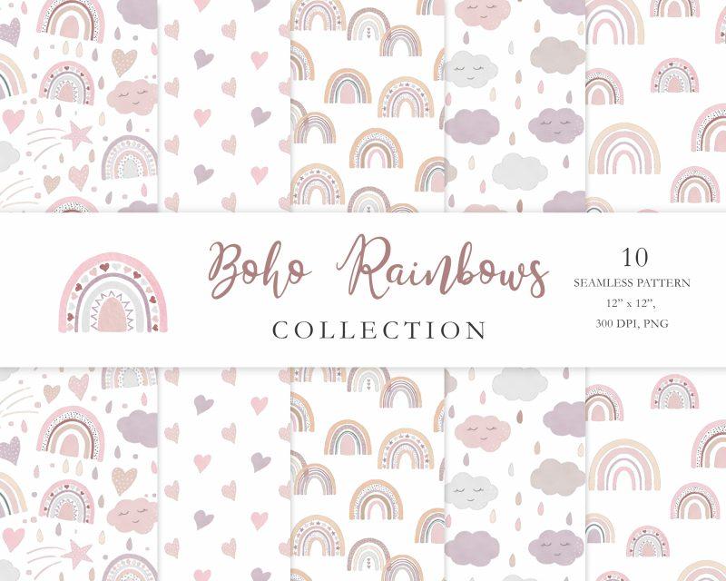 boho-rainbow-digital-paper