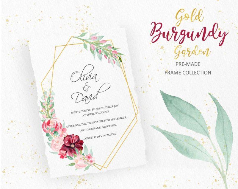 burgundy-floral-frames