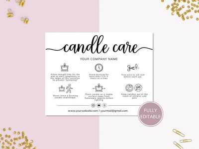 CANDLE CARE CARD TEMPLATE,...
