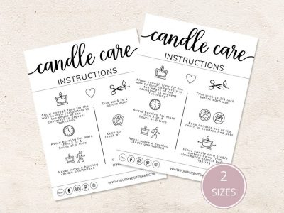 EDITABLE CANDLE CARE CARDS...