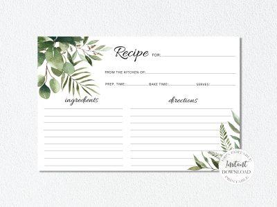 GREENERY RECIPE CARD TEMPLATE,...